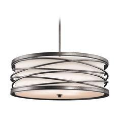 Kichler Lighting Kichler Drum Pendant Light with White Glass in Warm Bronze Finish 42465WMZ