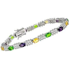 Collette Z Sterling Silver Multi-colored Cubic Zirconia Link Bracelet ($36) ❤ liked on Polyvore featuring jewelry, bracelets, white, sterling silver jewellery, wide bangle, white bangle, tri color jewelry and sterling silver cubic zirconia jewelry