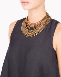 Brunello Cucinelli copper and haematite necklace. 39 cm