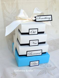 Something Blue Wedding Gift Boxes  Something by KatherinaKrafts, $30.00. This would be fairly easy to make yourself.