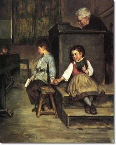 """""""The classroom"""". Henry Bacon (1839 – 1912), American artist."""