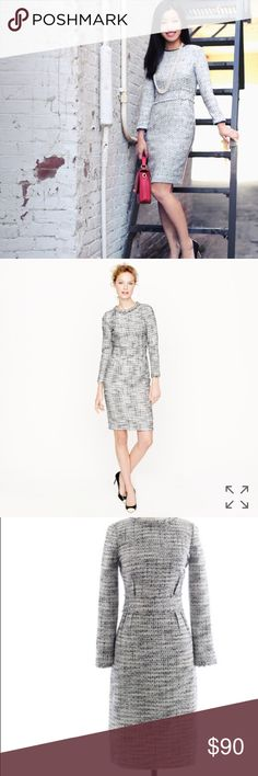Long Sleeve Tweed Dress classic fall-friendly silhouette features inside-out darts (they create a more defined waist) and fringe trim at the neck, waist and sleeves for an extra punch of polish. J. Crew Dresses