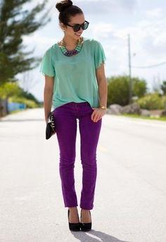 Color inspiration. Mint Blouse, Dk. Purple Jeans, Mint/Purple Necklace, Black Clutch
