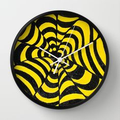 Yellow & Black OP ART optical illusion abstract painting Wall Clock by original art by micki - $30.00