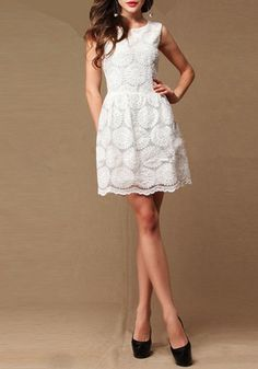 White Sunflower Embroidery Zipper Sleeveless Lace Dress