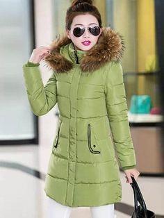 Ericdress Faux Fur Collar Slim Cotton Coat