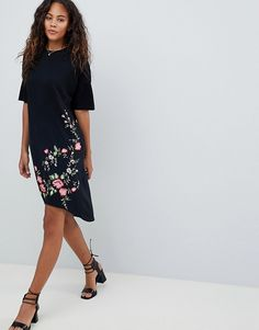 ASOS Tall | ASOS DESIGN Tall embroidered hem t-shirt dress with hi lo hem