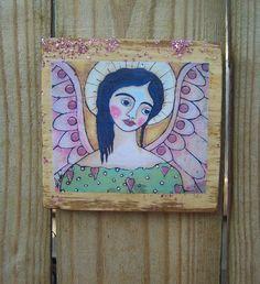 Folk Art Angel Encaustic Woodblock Print by Debidoodah on Etsy, $12.00