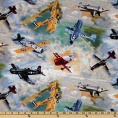Vintage War Planes Airplane Anything Goes Fabric by VIP Cranston Fabric by the Yard