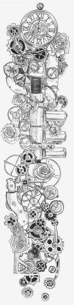 Steampunk Rose tattoo - down the spine or an interesting idea for a sleeve Future Tattoos, Love Tattoos, Beautiful Tattoos, Body Art Tattoos, New Tattoos, Tattoo Skin, Motor Tattoo, Kunst Tattoos, Tattoo Drawings
