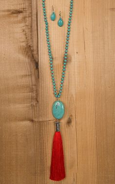 Wired Heart Turquoise Stone with Red Drop Tassel Necklace & Earrings Jewelry Set 730499RD | Cavender's