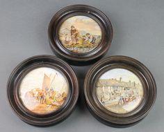 Lot 36, 3 Victorian Prattware pot lids - Shakespeare's House, Henley Street, Stratford on Avon and 2 others, framed, est £30-50