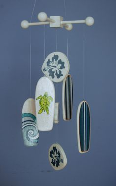 Baby Mobile  Baby Crib Mobile  White and Blue Surf by FlyingTrees, $80.00