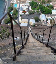 """700 Stairs, Jamestown, St. Helena Island (Seriously - Would anyone actually walk down...or UP 700 stairs?). Yea been up there and down again called """" Jacobs ladder"""""""