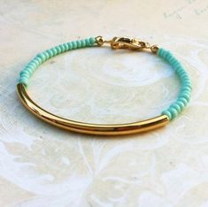 Mint gold bar bracelet  minimalist jewelry
