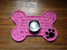 Crochet PATTERN Dog Bone Placemat Pet Food Bowl Floor Mat | Etsy Food Bowl, Crochet Gifts, Hand Crochet, Basic Crochet Stitches, Crochet Patterns, Crochet Ideas, Dog Bowl Mat, Dog Crate Mats, Bowls