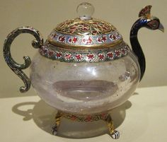 Teapot in the form of a peacock, northern India, 19th century, rock crystal, gold, gemstones and enamel
