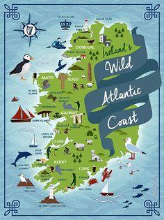 Wild Atlantic Way Irish Throw Belfast Ireland, Ireland Map, Ireland Travel, Ireland Food, Ireland Hotels, Castles In Ireland, Clare Ireland, Galway Ireland, Ireland People
