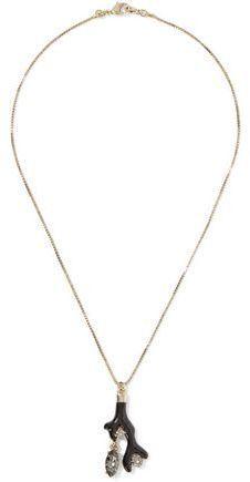 Oscar de la Renta Gold-Tone Resin And Swarovski Crystal Necklace