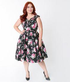 d74cd040360 Plus Size Vintage 50s floral dress swing dress pinup dress tea dress Plus  Size Retro Dresses