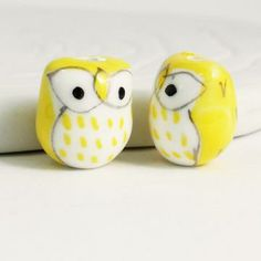 2 Baby Owl Beads, Bright Yellow, Porcelain Ceramic, Cute Bird Beads by BirdsongSupplies for $1.50