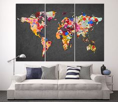New 3 pcsset abstract navy blue world map canvas painting modern 3 piece world map canvas print on gray background large world map wall art gumiabroncs Gallery