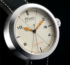 Mooren New Vintage Watch White Dial Black Strap. Nice modern design (By a 19-year-old!?) Lovely orange hands and super clean look.