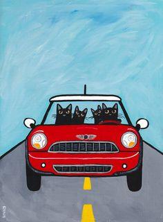 Red Mini Cooper Cats Original Folk Art Painting by KilkennycatArt