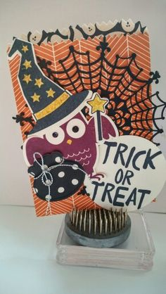 Treat bag made with Stampin Up Howl-o-ween Treat stamp set and matching framelits, Boo To You. From the 2015 Holiday Catalog.