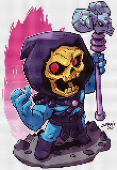 Skeletor Chibi Cross Stitch and Plastic Canvas pattern