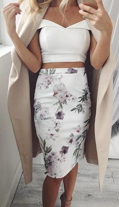 #winter #outfits white and multicolored floral skirt and white off-shoulder top outfit