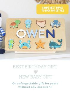 Wooden Name Puzzle Sea Life Animals- Boy Girl Personalized 1st Birthday Gift - Ocean Themed Toys - Baby Shower - Woodily Toys / ss24. Our Personalized ocean themed name puzzles are designed to fuel imagination, inspire exploration and encourage the natural curiosity that leads to a lifetime of learning. #woodtoy #kidstoy