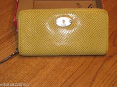 Fossil SL4041741 Perfect Clutch Mineral Yellow ID Zip Clutch Wallet NWT*^