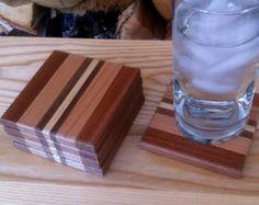 Cutting board style wood coaster set of 5 by DaigleCraft on Etsy