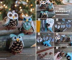 Creative Ideas - DIY Felt and Pinecone Owl Ornaments