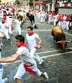 Go to do this one day.The Pamplona Bull Run takes place during the San Fermin Festival in Spain each year from the 6th to 14th July.