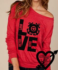 Coast Guard Love print on eco friendly slouch shirt militarys support. $34.00, via Etsy.