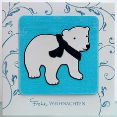 blog.karten-kunst.de - Eisbärige Weihnachten. Memory Box Stanzschablone Bundled Bear, Artemio Clear Stamps Arabesques, Karten-Kunst Clear Stamp Kombi-Set Grüße