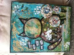 Cat Art: My very first mixed media canvas :)