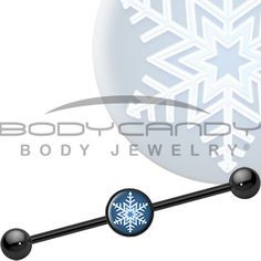 Blue Holiday Snowflake Industrial Barbell #piercing #industrial #scaffold #bodycandy $9.99