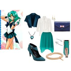 A fashion look from March 2014 featuring white cotton blouse, short-sleeve blazers and chiffon skirts. Browse and shop related looks. Casual Cosplay, Cosplay Outfits, Anime Outfits, Sailor Moon Collectibles, Sailor Moon Merchandise, Anime Inspired Outfits, Sailor Moon Cosplay, Sailor Neptune, Modern Princess