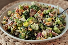 Broccoli Salad. I would probably use honey or agave nectar instead of the sugar, and use fake bacon to make it vegetarian.