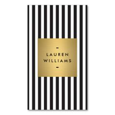 Fully Customizable Black and White Stripes with Gold Nameplate Business Card Template - click to personalize