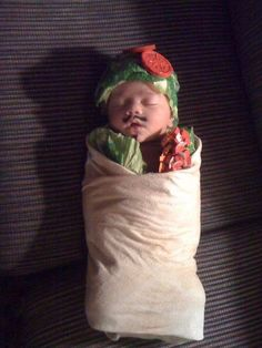 A burrito swaddle costume!  Hahaha...