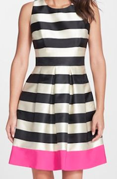 Love this black and white striped fit and flare dress