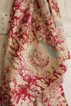 Antique French printed toile cotton fabric material red blue c1900 old red blue