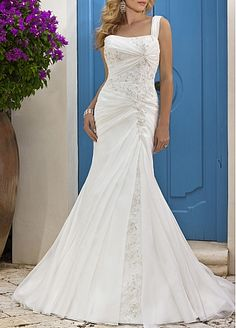 Fabulous Satin & Organza Satin Mermaid One Shoulder Beaded Appliques Destination Wedding Dress