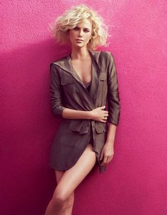 Charlize Theron- hair and long jacket. amazing