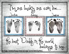 Personalized baby footprint or handprint keepsake gift PERFECT for Father's Day, Mother's Day, Birthday, Grandparents/Aunt/Uncle/Godparent. $15.00, via Etsy.