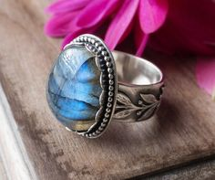 RESERVED: Labradorite Ring, Blue Flash, Cocktail Ring, Custom Size, One of a Kind, Rustic Ring, Artisan Ring, Wide Band,